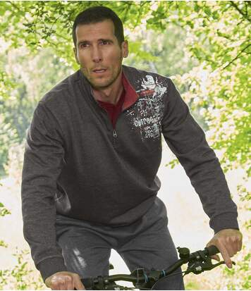 Men's Half Zip Jumper - Mottled Anthracite