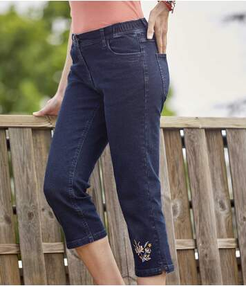 Women's Embroidered 7/8 Stretch Jeans - Blue
