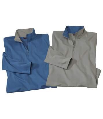Pack of 2 Men's Half Zip Jumpers - Grey Blue - Jersey