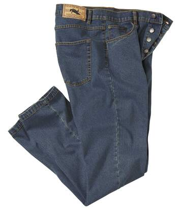 Men's Blue Regular Stretch Jeans - Denim