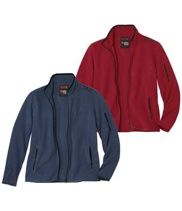 Pack of 2 Men's Red & Blue Microfleece Jackets - Full Zip