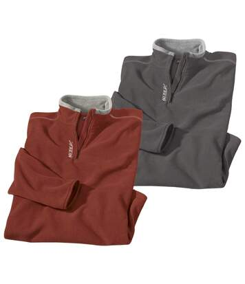 Pack of 2 Half Zip Microfleece Pullovers - Red, Grey