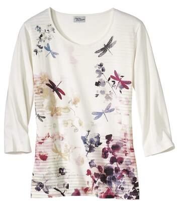 3/4-Arm-Shirt mit Libellen-Motiv