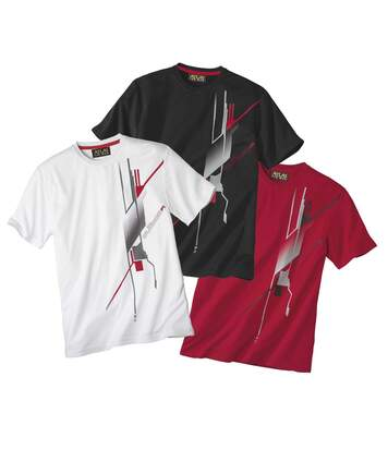 Pack of 3 Men's Graphic Print T-Shirts - White, Black, Red