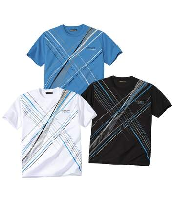 Pack of 3 Men's X-Trem Sports T-Shirts - White Blue Black