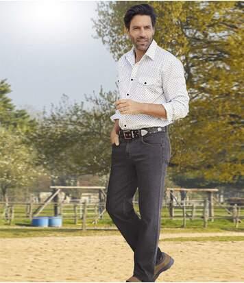 Braune Regular-Jeans mit Stretch-Effekt