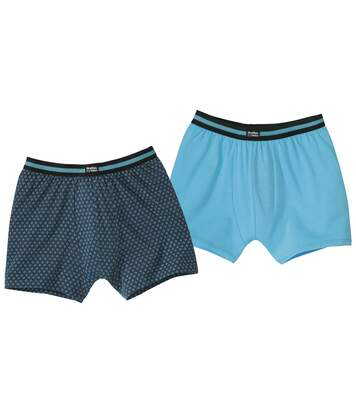Pack of 2 Men's Comfort Boxer Shorts - Turquoise Navy