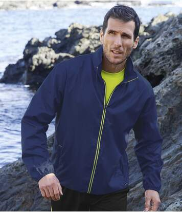 Men's Full Zip Blue Water-Repellent Windbreaker