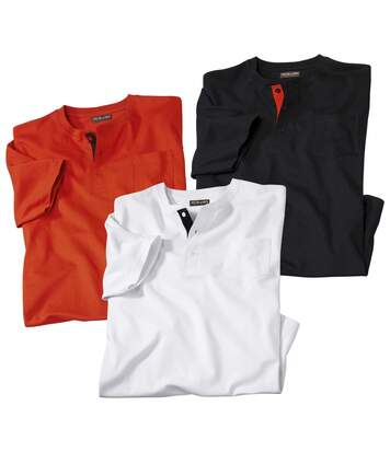Pack of 3 Men's Button-Neck T-Shirts - Red White Black