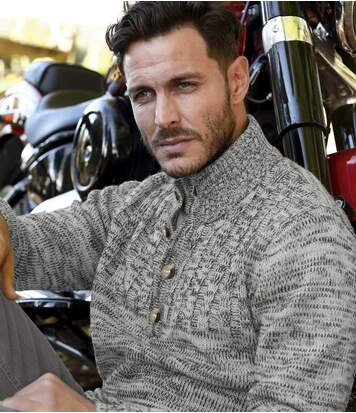 Men's Grey Mottled Jumper - Button-Neck