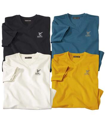 Pack of 4 Men's Eagle T-Shirts - Black Blue Ochre Cream