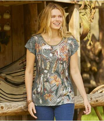 Women's Khaki Dream Catcher T-Shirt
