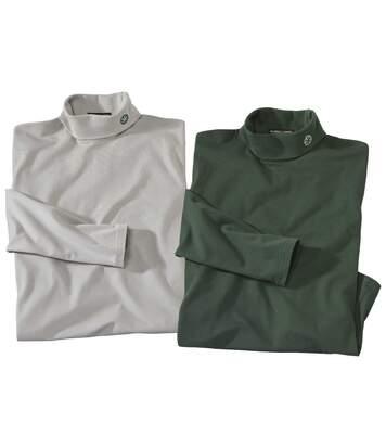 Pack of 2 Men's Turtleneck Jumpers - Grey Green