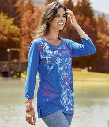 Women's Blue Printed Tunic