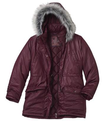 Women's Stylish Padded Parka with Hood - Plum