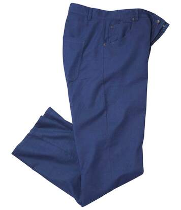 Men's Blue Cotton/Linen Stretch Trousers
