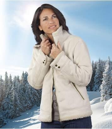Jacke White Snow in Wildlederoptik