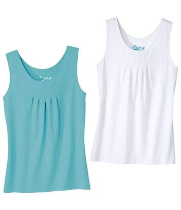 Pack of 2 Women's Summer Vest Tops - White Turquoise