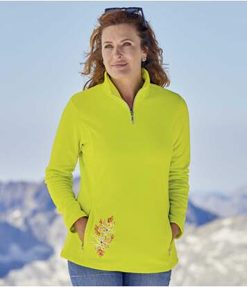 Women's Zip-Neck Microfleece Jumper - Lime Green
