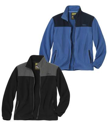 Pack of 2 Men's Two-Tone Fleece Jackets - Full Zip - Blue Navy Black Grey