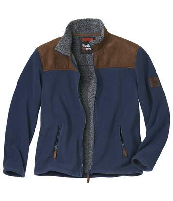 Men's Navy Sherpa-Lined Fleece Jacket - Full Zip