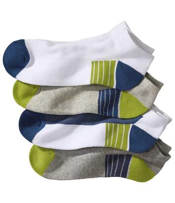 Pack of 4 Pairs of Men's Trainer Socks - White Grey