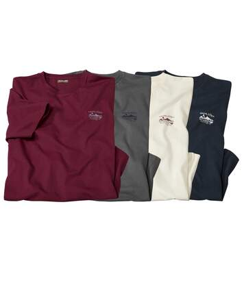 Pack of 4 Men's Practical T-Shirts - Grey Burgundy Navy Off White