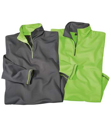 Pack of 2 Men's Half Zip Jumpers - Green Grey