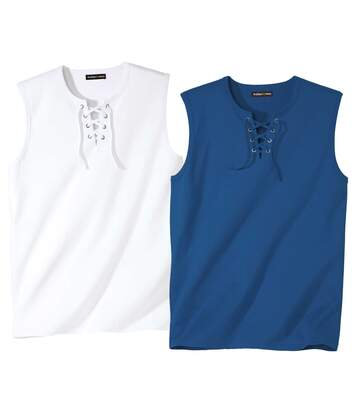 Lot de 2 Tee-Shirts Sans Manches Col Lacé Sea-Side