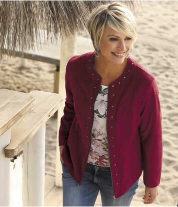 Women's Burgundy Faux-Suede Jacket