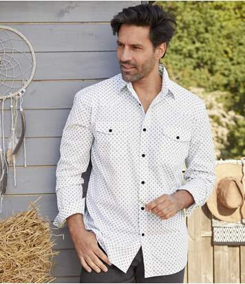 Men's White Patterned Shirt