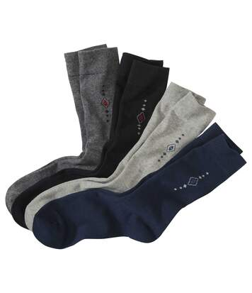 Pack of 4 Pairs of Men's Patterned Socks - Black Blue Grey