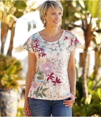 T-Shirt mit tropischem Blumenaufdruck