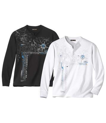 Set van 2 T-shirts met  Tunesische hals Sporting