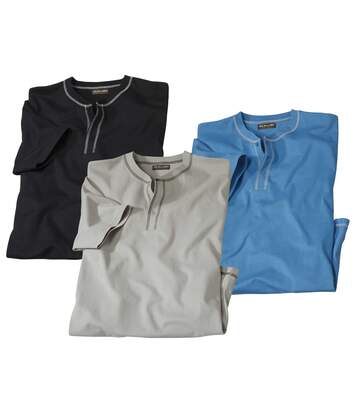 Sada 3 triček skrátkým rukávem a zapínáním u krku