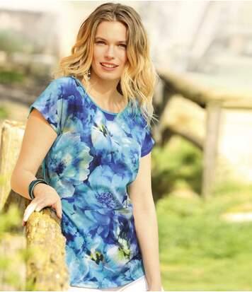 Tee-Shirt Femme Bleu Bi-Matière à Motif Maxi-Fleurs
