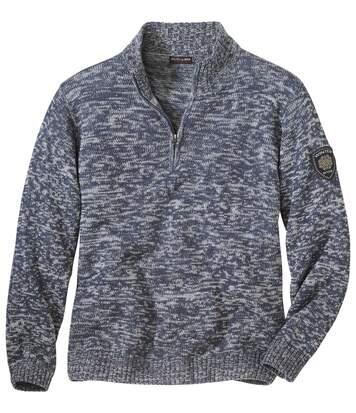 Melierter Strick-Pullover Winter mit RV-Kragen