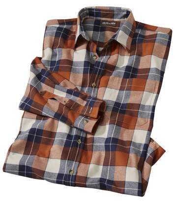 Men's Canada Lake Checked Flannel Shirt - Orange Navy Ecru