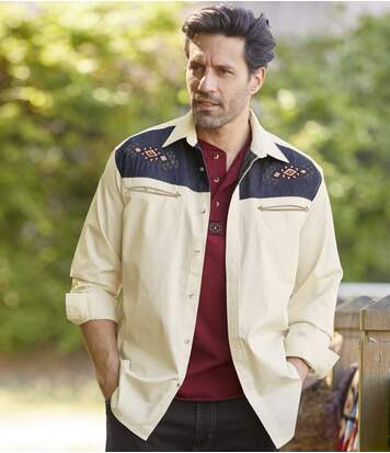 Men's Ecru Embroidered Overshirt