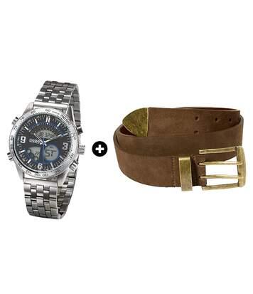Set: Metall-Uhr + Brauner Gürtel