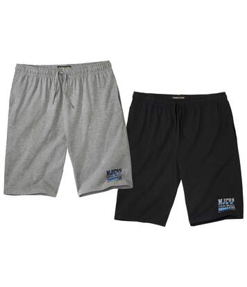 Pack of 2 Men's Ocean Beach Shorts - Black Grey