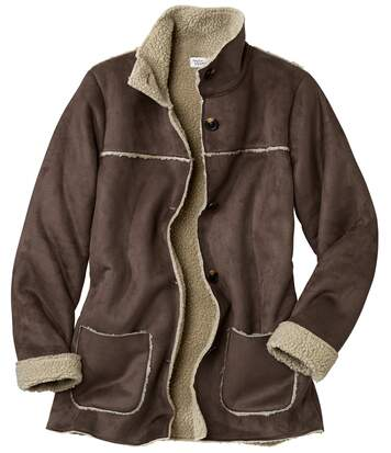 Women's Brown Faux Suede Long Coat