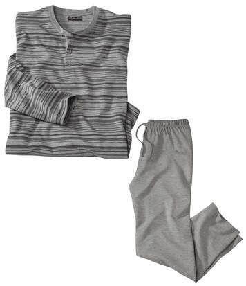 Men's Striped Winter Pyjamas - Grey