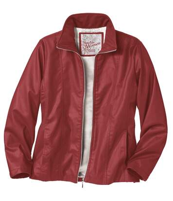 Women's Red Faux Leather Jacket