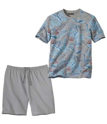 Men's Grey Pyjama Short Set