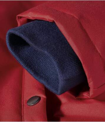 Rode ski-jas met capuchon