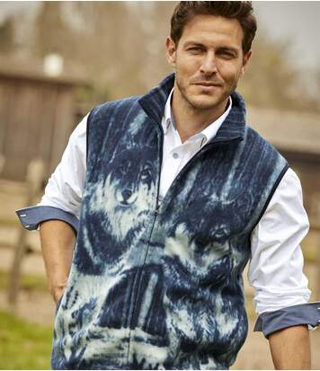 Men's Blue Wolf Print Fleece Body Warmer