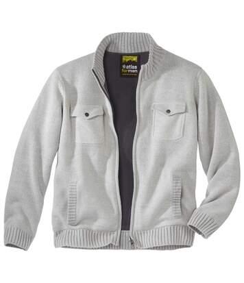 Trykotowa bluza z kieszeniami podszyta polarem