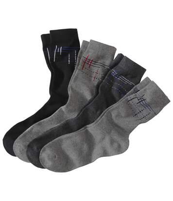4 Paar Socken mit Dekorgrafik