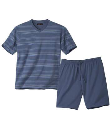 Krátké letní proužkované pyžamo